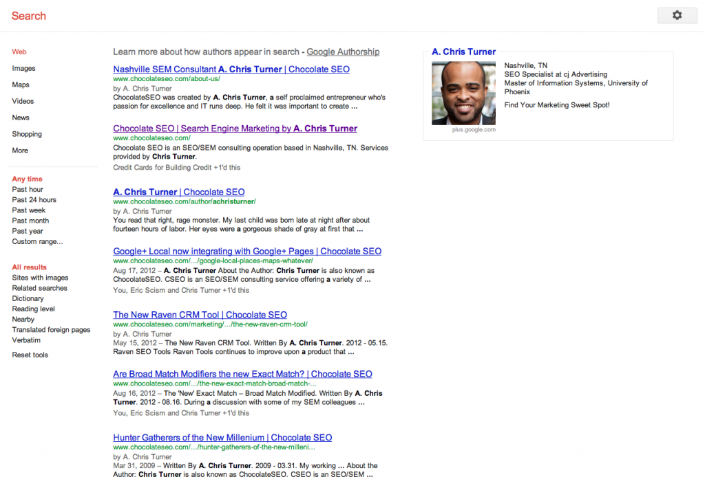 Google+ Authorship SERP