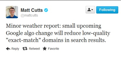 Matt Cutts exact-match domain tweet