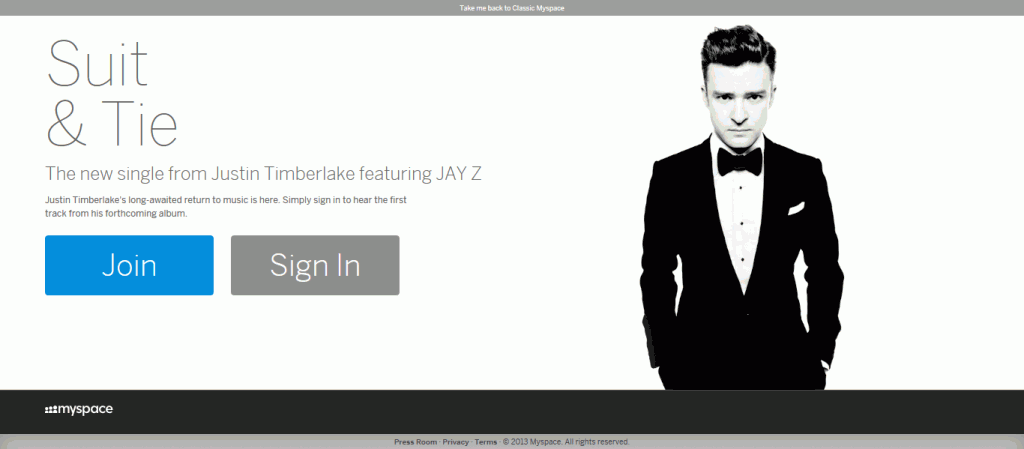 The New MySpace home page featuring Justin Timberlake