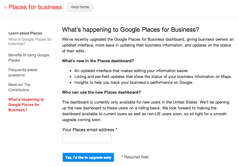 Google Places for Business update request