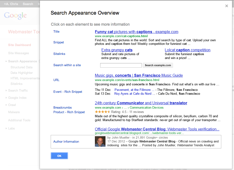 search appearance overview