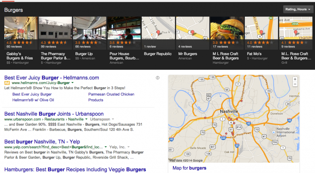 Burgers Query in Google