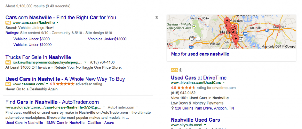 Used Cars Nashville Query in Google